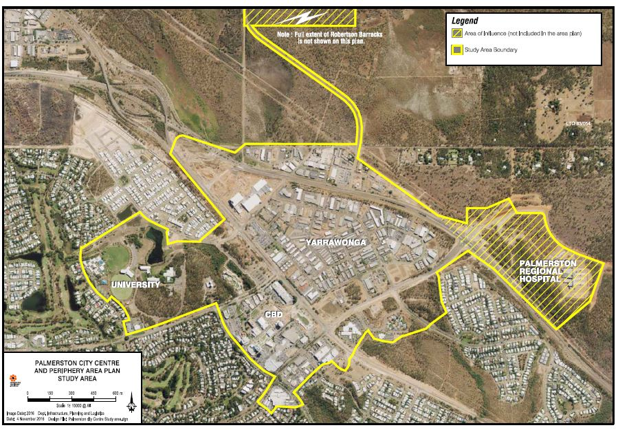 Palmerston City Centre and Periphery Area Plan - aerial image with study area outlined. Study area includes the Palmerston CBD, Yarrawonga and university. Robertson Barracks and Palmerston Regional Hospital are noted as areas of influence.