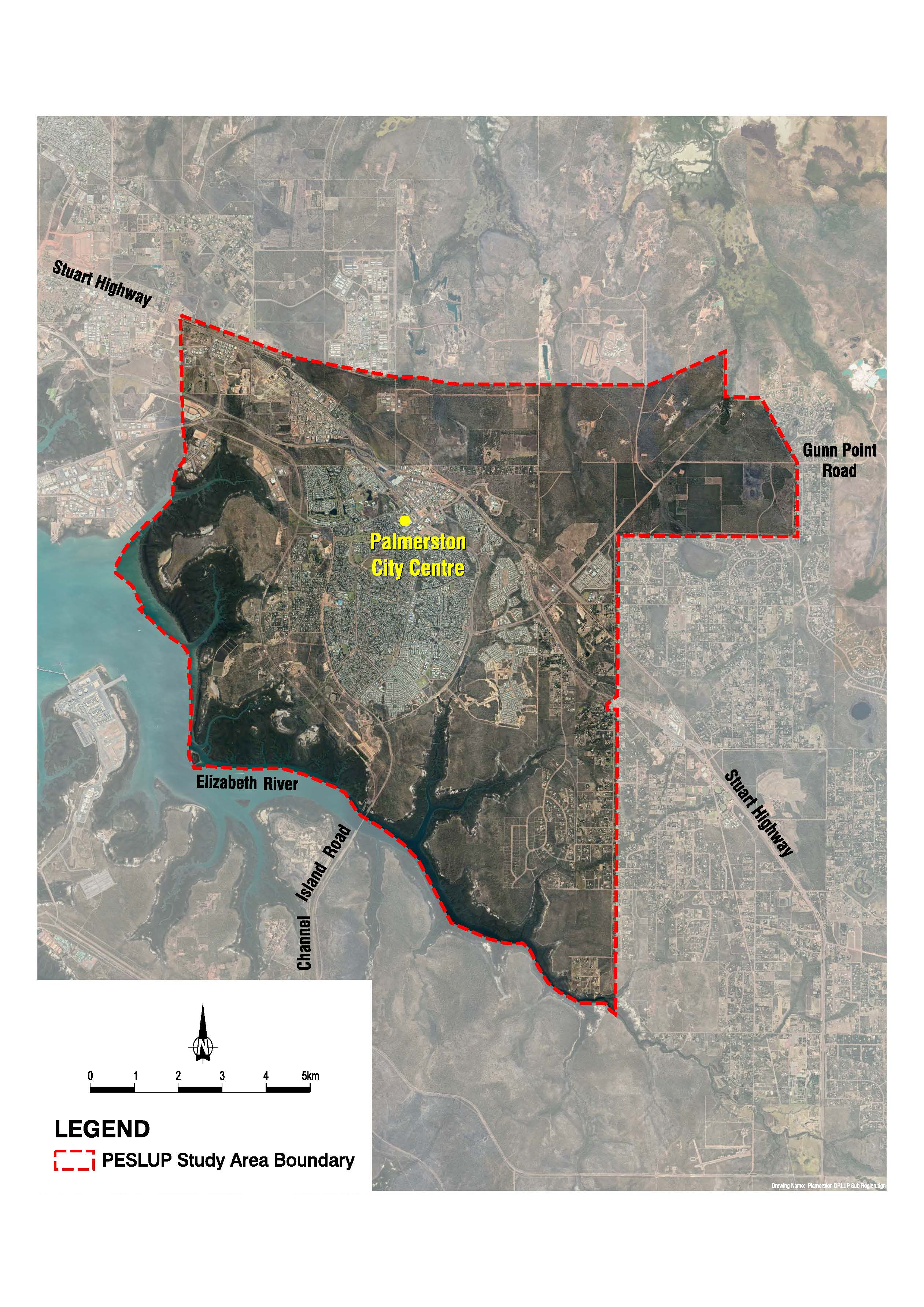 Map showing the study area boundary for the Palmerston Environs Subregional Land Use Plan project